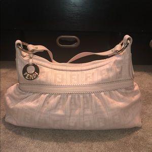 Fendi Perforated Leather Pink Logo Zip Top Bag